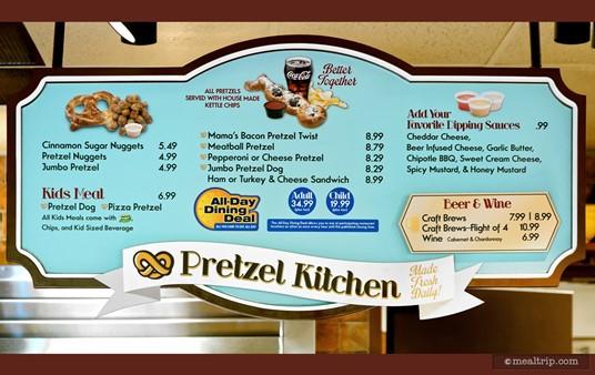 Mama's Pretzel Kitchen Menu and Prices (Photo taken - Fall, 2017)