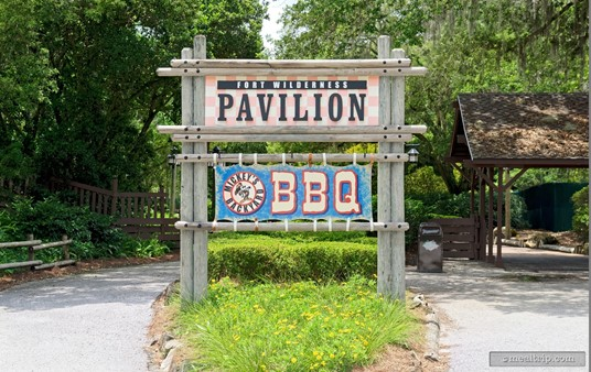 The main welcome sign at Mickey's Backyard BBQ.
