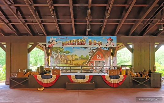 The main stage at  Mickey's Backyard BBQ usually has live musicians performing (this photo was taken before the band got there).