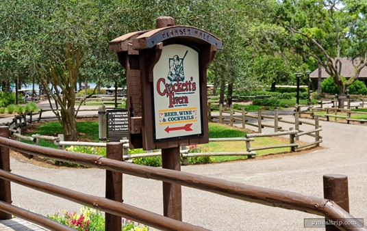 Standing at the Crockett's Tavern ordering window and looking out at the golf-cart turn-about area.