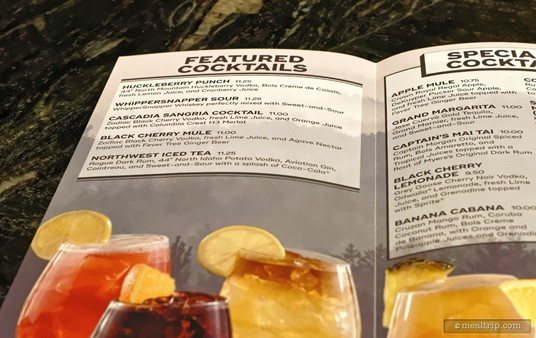 The Featured Cocktail menu at Geyser Point (spring 2017).
