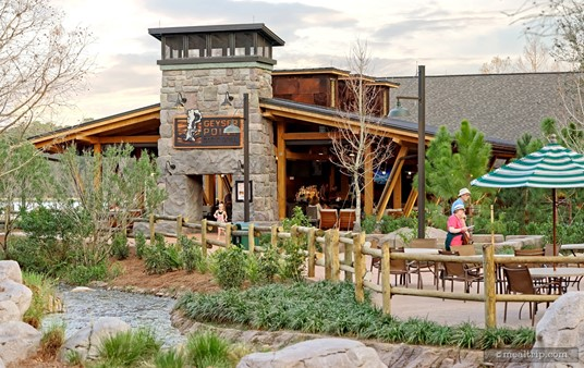 """Walking up to the Geyser Point Bar and Grill """"Lounge"""" at the Wilderness Lodge Resort."""