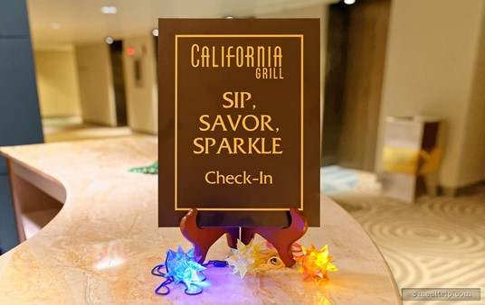 The check-in area for Sip, Savor and Sparkle is on the 2nd floor of the Contemporary Resort.