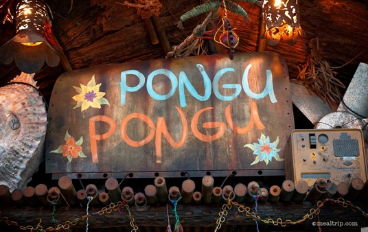 """The Pongu Pongu sign itself is nice, but I really like the """"prop"""" off to the right. It's actually a beat up Gonset Communicator III (VHF receiver/transmitter) from the 1950's. How did that get all the way out to Pandoraland?"""