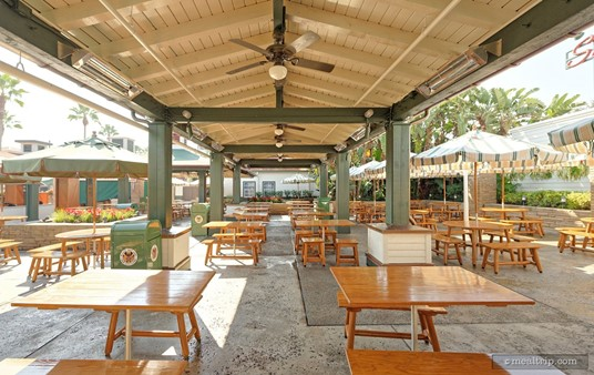 """The """"Sunset Ranch Market"""" food court seating is only a few steps away from the Sunshine Day Café."""