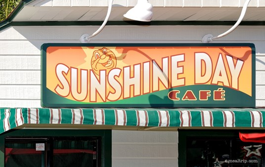 The brand new Sunshine Day Cafe sign, just a few days after it was put up there!