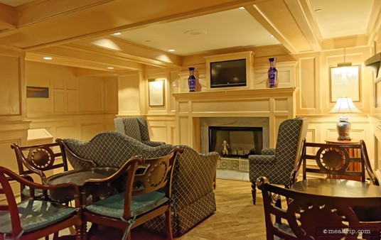 """(Archive Photo — the Ale and Compass Lounge was redesigned late 2017.) The seating area is not very large. In fact, you're looking at more than half of it! This is the fireplace """"side"""" of the room."""