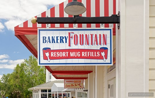 """You can get your Resort Mugs refilled at the BoardWalk Bakery. (A """"Resort Mug"""" let's you get free refills in that mug, for a predetermined amount of time. It might be a good deal if you drink a lot of soda.)"""