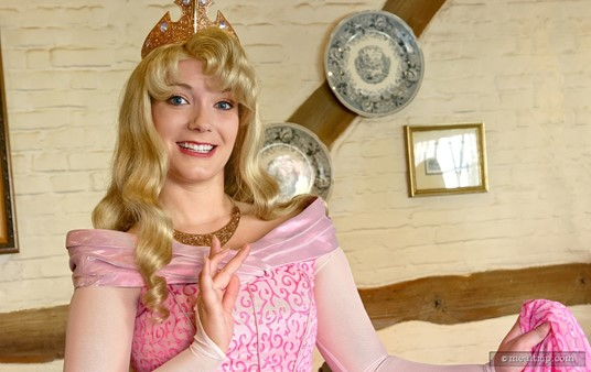 Princess Aurora visits each table during breakfast at Epcot's Akershus Royal Hall located in the Norway Pavilion.