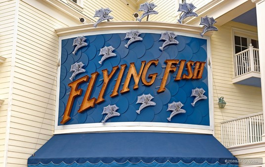 The Flying Fish sign is quite large and very literal. There are, flying fish on it!