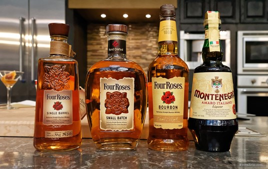 The Four Roses products that guests got to sample and use in their own Black Manhattan. You will get some background information and history of the products being used at the various Mix It, Make It demos.