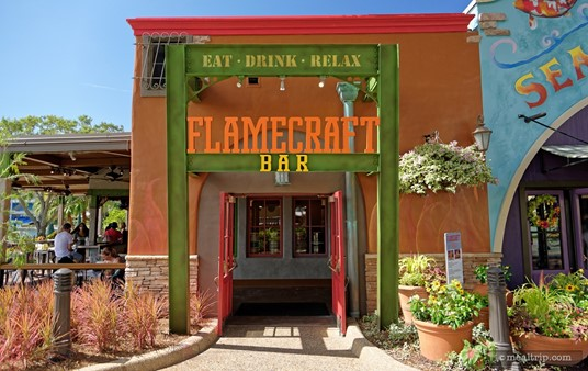 The entrance to SeaWorld's Flamecraft Bar is to the left of the Seafire Grill.