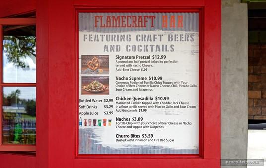 Flamecraft Bar Menu and Prices (photo Nov., 2017)