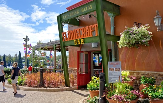 The front entrance of SeaWorld's Flamecraft Bar.