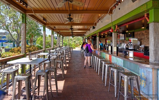 Flamecraft Bar is all outdoors but fully covered. Rain? In Florida, it depends on which way the wind is blowing. It might be cool… you might get really wet.