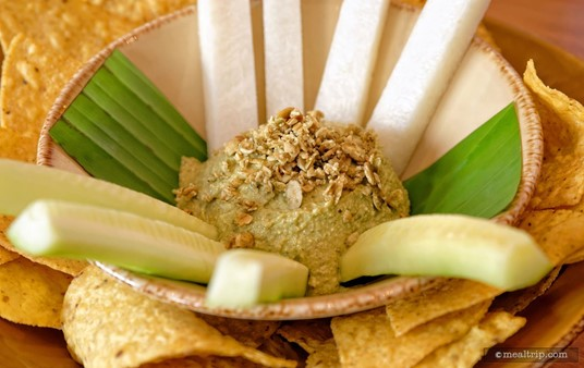 """The                  Toasted Pumpkin Seed """"Hummus""""                                                                                                      features Creamy Yucatecan pumpkin seed-habanero dip, crispy cucumber and jícama spears, along with warm tortilla chips."""