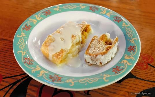 Apple strudel and stollen bread from Biergarten's dessert station.