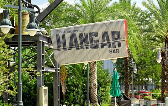 One of the stree-side signs for Jock Lindsey's Hangar Bar at Disney Springs.