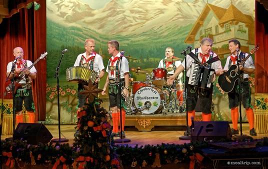Oktoberfest Musikanten perform in Epcot's Biergarten Restaurant.