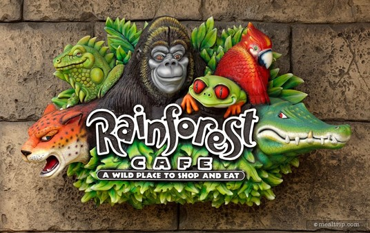 Another mini Rainforest Cafe Sign located close to the sign-in desk. (This one is great for standing next to... the gorilla head is about person-sized.)