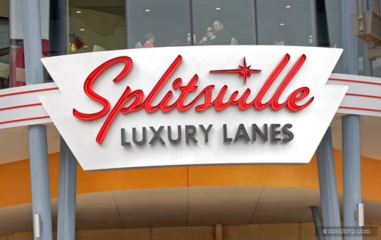 Part of the Splitsville Dining Room is located just above the Splitsville Luxury Lanes sign!