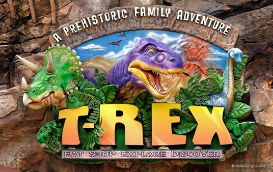The T-REX™ sign is a carved relief sign, just like the Rainforest Cafe sign.