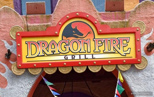 The exterior logo sign above Busch Garden's Dragon Fire Grill.