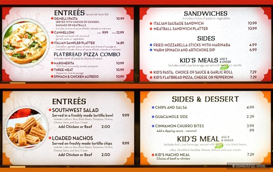 Dragon Fire Grill Menu Boards for the Italian Kitchen and Southwest Cantina food stations. (Photo Summer 2018).