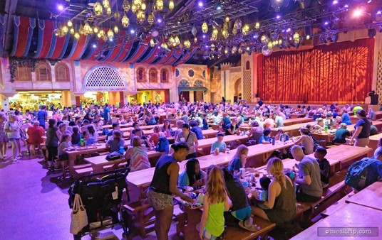 There is a large stage on one end of the dining hall. Occasionally, the Dragon Fire Grill is used as flex-space for special events.