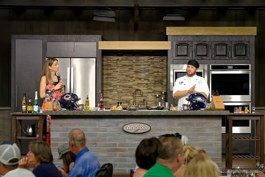There's an emcee (Katie Farmand is pictured here) and a chef at each of the Tailtage Tastings.