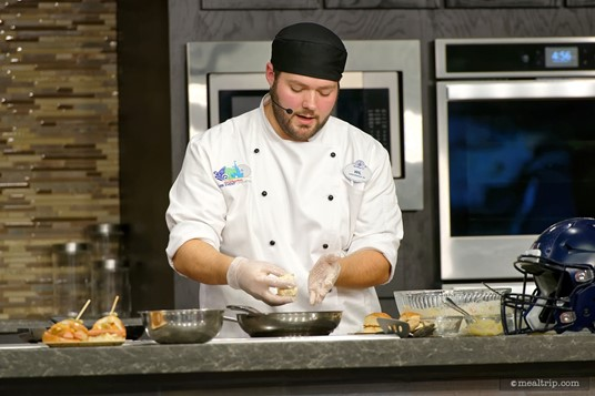 Chef Will forms the ingredients into a patty for the slider.