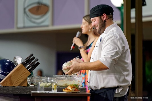 Here, chef Will mixes up the ingredients for the Seattle Seafood Slider.