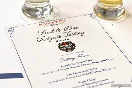 Each guest gets a menu card for the tasting. The card which teams, food, and beverage you will sample during the event. (September 17th, 2018 event.)