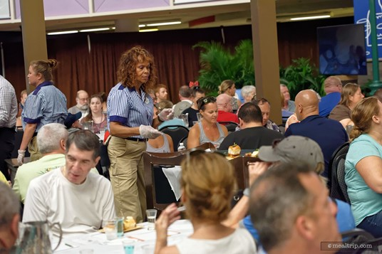 Before you know it... your sample plate of food is served! There are 150 guest, and so it does take 10 or 15 minutes to get all the sample plates distributed.