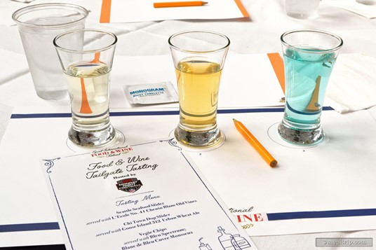 Here's what the September 17th, 2018 beverage samples look like! From left to right, L'Ecole No. 41 Chenin Blanc Old Vines, Goose Island 312 Urban Wheat Ale, and Bleu Spectrum's Blanc de Bleu Cuvee Mousseux. (September 17th, 2018 event.)