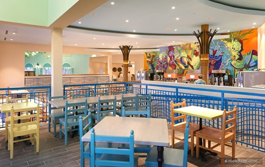 A large wall mural adds to the fun and festive feel in the Caribbean themed dining areas.