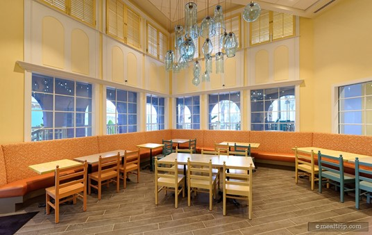 The peach and orange areas also have very high ceilings and great accent light features.