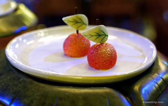 """The """"Poison"""" Apple is a white chocolate apple mousse with a sour center."""