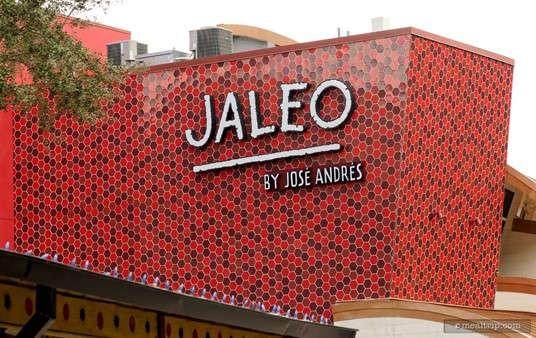 """Here's a wider photo of the red  tiled architectural """"fin"""" on the Jaleo building."""