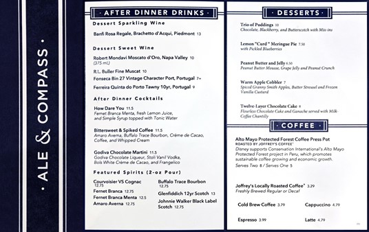 Dessert and Coffee menu at Ale and Compass (Winter 2018).