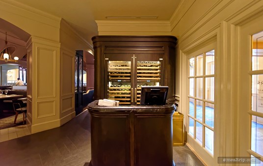 The check-in desk at the Ale and Compass  restaurant.