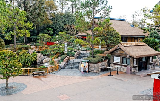 In this photo, the Katsura Grill is the larger building to the back and  right. The menu board is downstairs, but you'll have to walk up to the  restaurant.