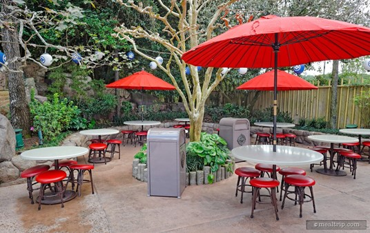 A rainy day for Katsura Grill's outdoor seating area.