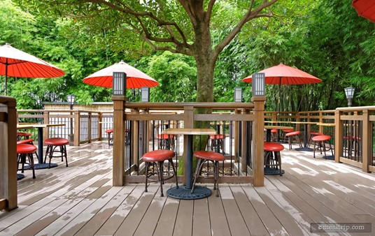 """It's worth noting that the chairs on the outside deck at Katsura Grill, do not have any back support and are of the """"bar stool"""" variety, only much shorter."""