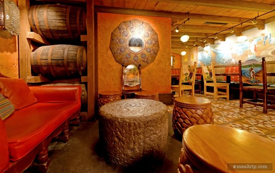 """Another view of the red """"couples"""" chair at La Cava."""