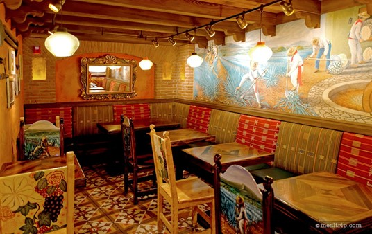 The very back of La Cava's seating area.