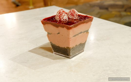 Framboise - A raspberry mousse on top of chocolate cake.