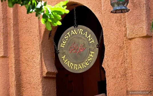 Sign above the entrance to Restaurant Marrakesh.