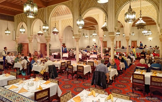 There is only one large, main dining room at Restaurant Marrakesh. The outer edges seem a bit quieter than in the center of the space, where the two piece band and belly dancer perform.