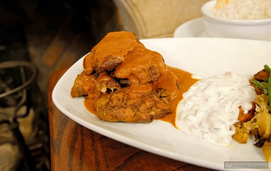 The curry chicken is plentiful on the Chicken Masala entree, and pairs well with the cucumber raita.
